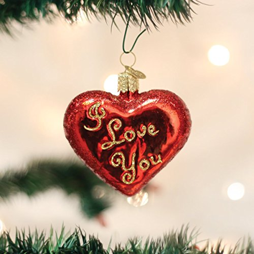 Old World Christmas I Love You Heart Glass Blown Ornament