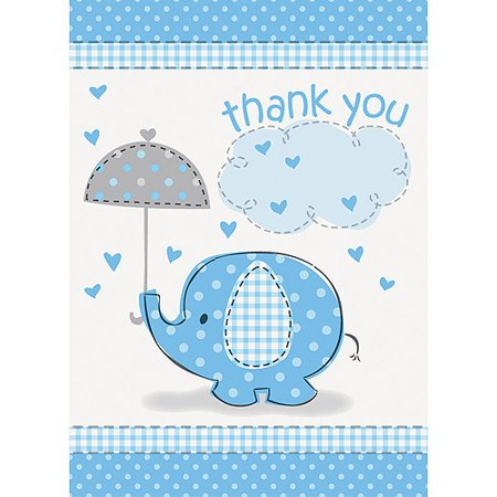 Blue Elephant Baby Shower Thank You Notes, - Frozen Thank You