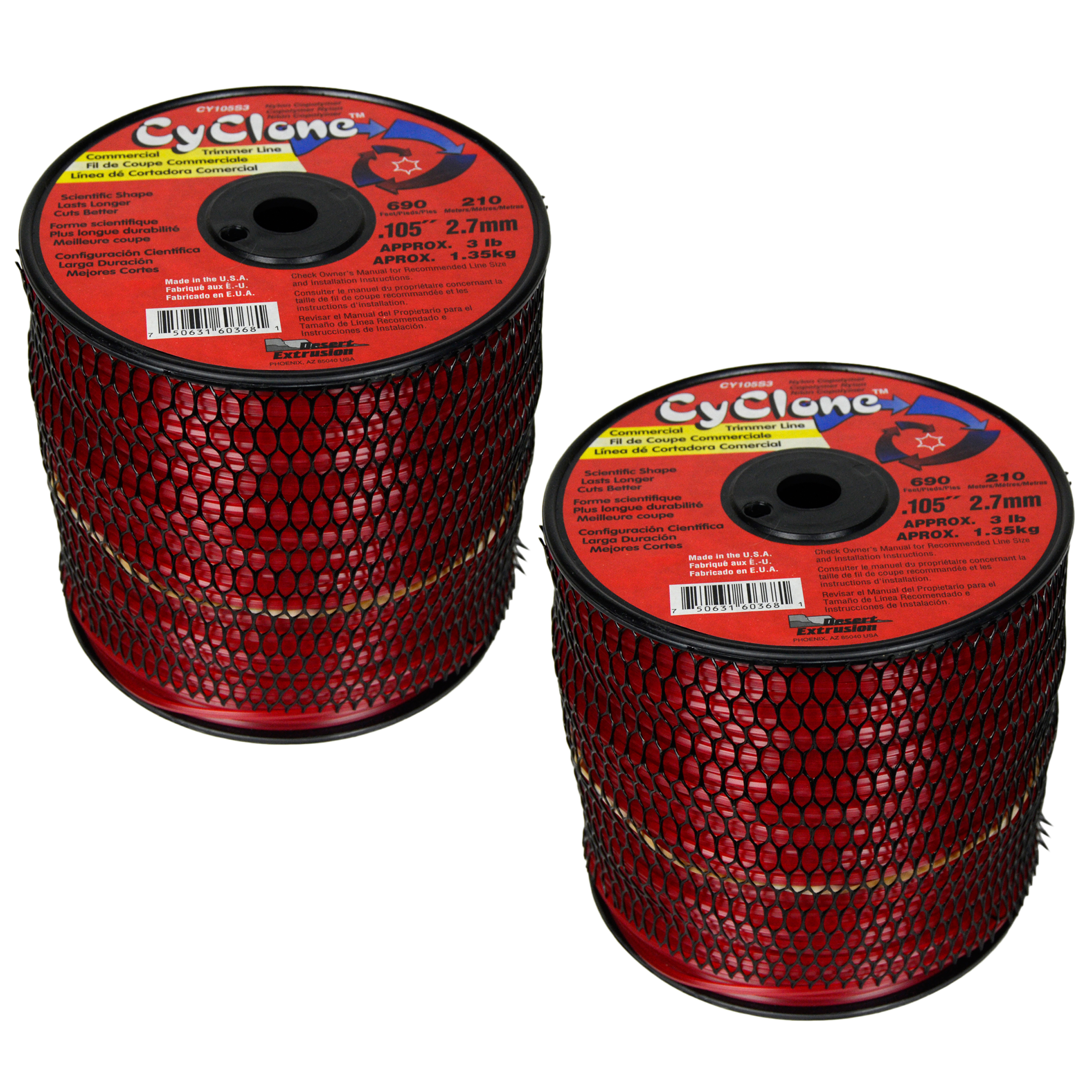 "Cyclone CY105S3 0.105"" x 690' Commercial String Trimmer Line Red (2-Pack), Made in the USA"