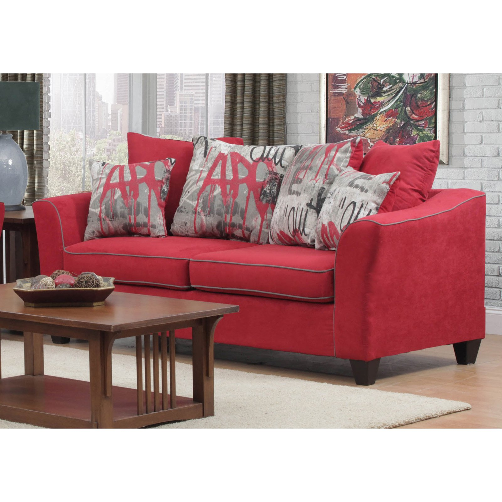 Chelsea Home Brier Sofa with Toss Pillows