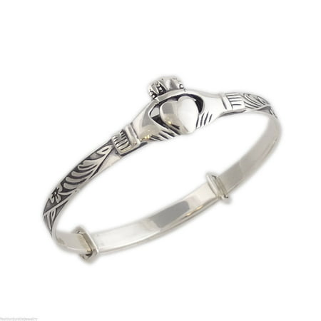 Celtic Claddagh Bracelet - Sterling Silver Celtic Baby Claddagh Bangle Bracelet - Adjustable 5