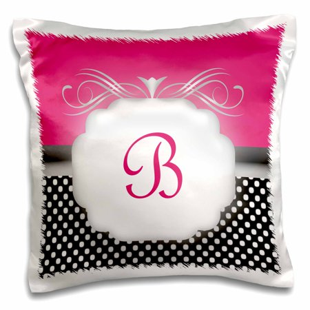 3dRose Elegant Pink with Black and White Polka Dot Monogram Letter B, Pillow Case, 16 by 16-inch ()