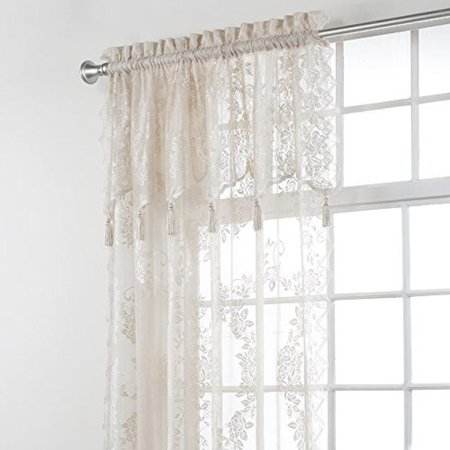 - Stylemaster Home Products Renaissance Home Fashion Carly Lace Panel with Attached Valance, 56 by 63-Inch Plus 17-Inch, Linen