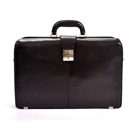 Mens Leather Lawyers Laptop Briefcase Top Handle Italian Leather by Tony Perotti