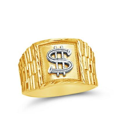 14k Yellow Gold Men's Cash Money Dollar Sign Ring , Size 10 14k Gold Money Sign