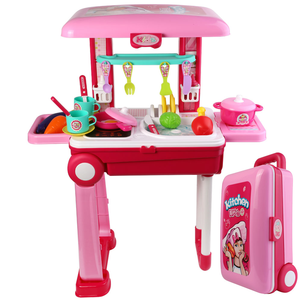 Kids Play Kitchen Set With Lights And Sounds 2 In 1 Portable Kitchen Playset With Food Accessories And Cookware For Boys And Girls Walmart Com Walmart Com