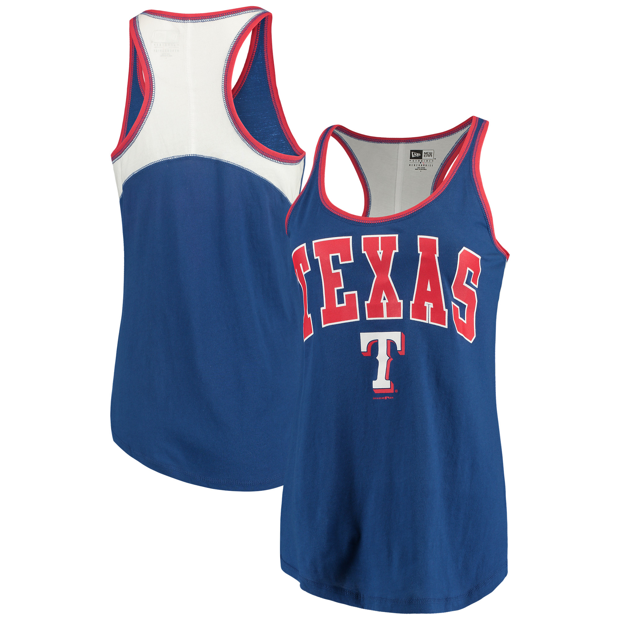 Texas Rangers 5th & Ocean by New Era Women's Baby Jersey Racerback Tank Top - Royal