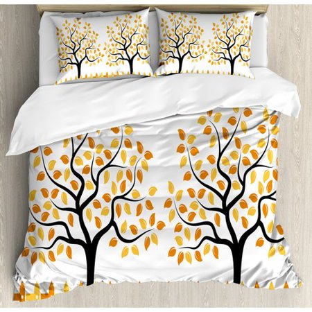Ambesonne Farmhouse Border with Shady Deciduous Autumn Trees Growth Leaf Seasonal Background Duvet Set
