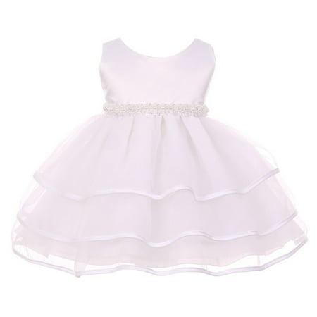Chic Baby Girl White Organza Pearl Sash Triple Layer Flower Girl Dress](Baby Girls Flower Girl Dresses)