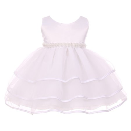 Chic Baby Girl White Organza Pearl Sash Triple Layer Flower Girl (Triple Layer Girl Dress)