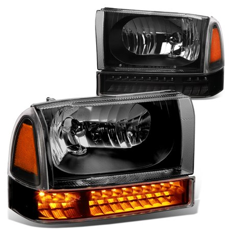 For 1999 to 2004 Ford F250 / F350 Super Duty Bumper+LED Turn Signal Headlight Black Housing Amber Corner Headlamp 00 01 02 03 Excursion
