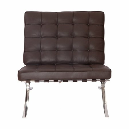 eMod - Pavilion Barcelona Chair in Italian Leather Brown Brown Italian Handcrafted Leather