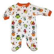 Infant Boys Halloween Sleeper White Cotton Monster Sleep & Play
