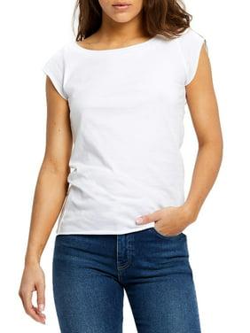 U.S Blanks Juniors' Cap Sleeve Raw Edge Scoop Neck T-Shirt