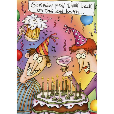 Oatmeal Studios Toasting Couple At Party Funny Humorous Birthday Card