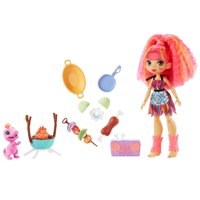 Cave Club Blazin BBQ Adventure Playset with Emberly Doll (8 - 10-inch), and Dinosaur Pet