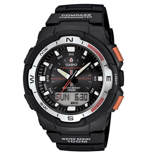 Men's Twin Sensor Watch With Thermometer and Compass, Black Resin Strap