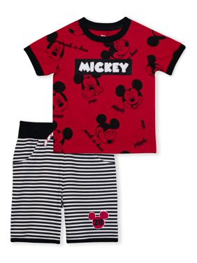 Mickey Mouse Baby Toddler Boy T-shirt & Shorts, 2 pc Outfit Set