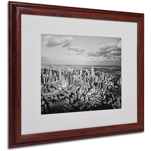 "Trademark Fine Art ""Aerial City"" Matted Framed Art by Ariane Moshayedi, Wood Frame"