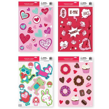 Valentine Window Decorations (Large Pack of Valentine's Day Window Clings Decorations for Valentine)