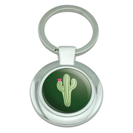 Cactus Succulent Desert Plant Flowering on Green Classy Round Chrome Plated Metal Keychain (Ray Ban Round Metal Green)