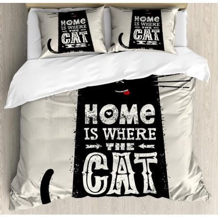 Funny Words Queen Size Duvet Cover Set, Tongue-in-Cheek Black Cat Figure with Inspirational Quote Stained Backdrop, Decorative 3 Piece Bedding Set with 2 Pillow Shams, Black and Beige, by Ambesonne ()