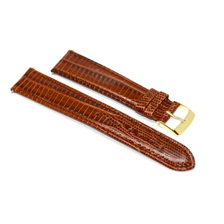 Dial Lizard Strap - 19MM BROWN STITCHED TEJU LIZARD GRAIN HIGH QUALITY LEATHER WATCH BAND STRAP