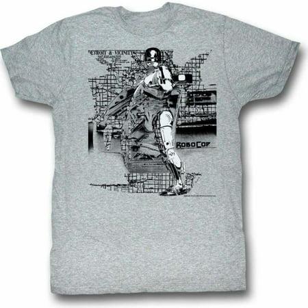 Robocop Movies Detroit Adult Short Sleeve T Shirt (Bleu Detroit Halloween)