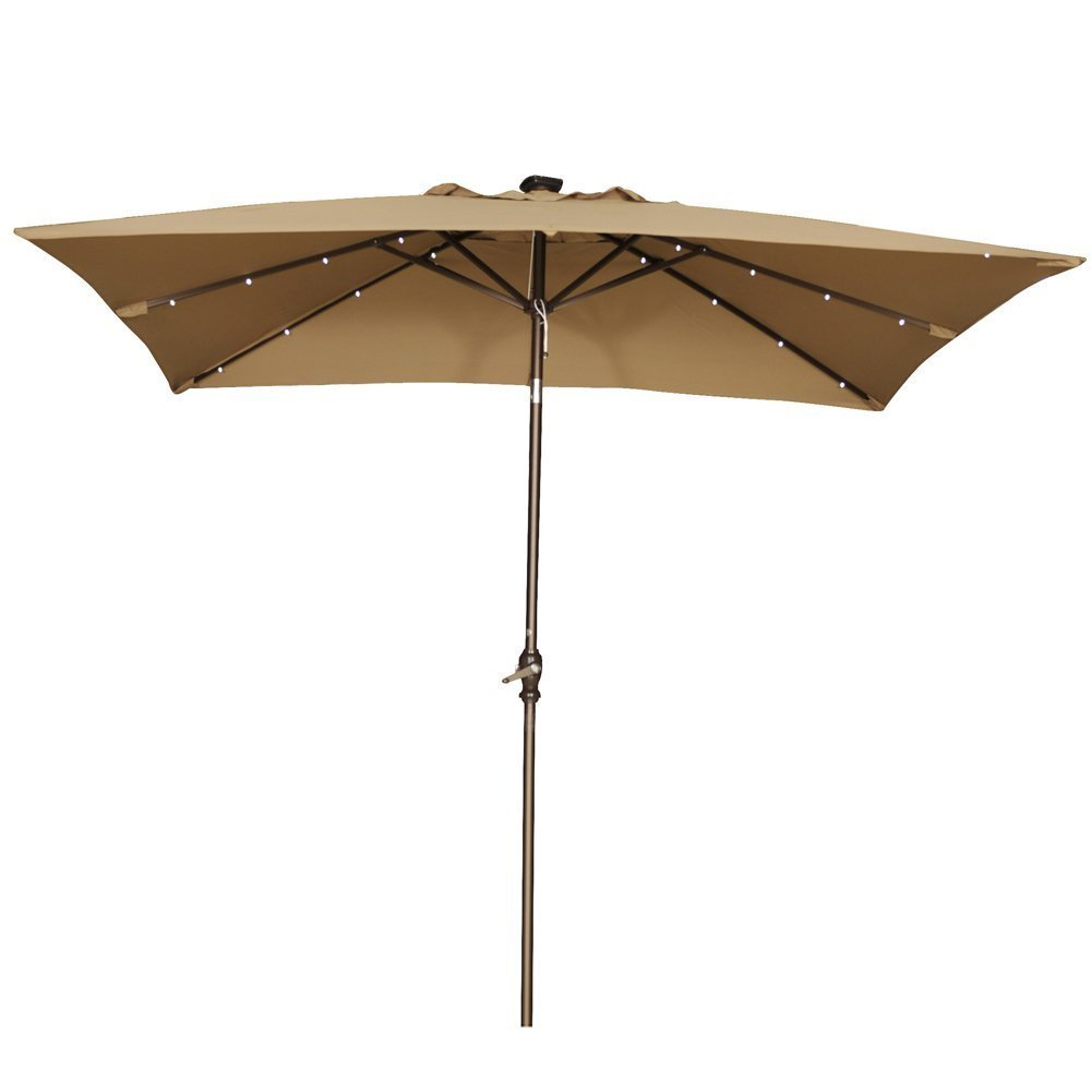 Abba Patio 7 By 9 Ft Rectangular Patio Umbrella With 32 Solar