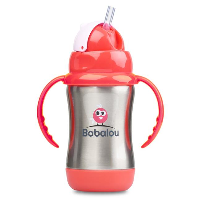 Copia Products BL-180S-PKS 180 ml Babalou Stainless Steel Sippy Cup, Stainless Pink Set