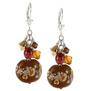 Lolas Jewelry Lola's Jewelry Sterling Silver Brown FW Pearl, Glass and Crystal Cluster Earrings (6 mm)