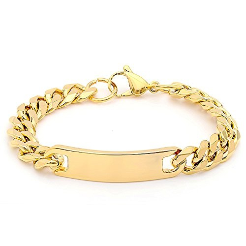 STEELTIME Men's 18k Gold Plated Stainless Steel Chain Bracelet