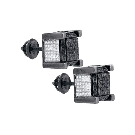 Cube Sterling Silver Earrings - Sterling Silver Mens Round Black Color Enhanced Diamond 3D Cube Stud Earrings 1/10 Cttw