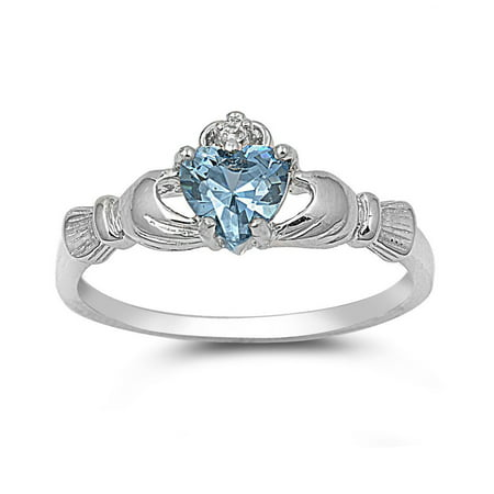 Claddagh Benediction Simulated Aquamarine Cubic Zirconia Ring Sterling Silver 925 Size 10