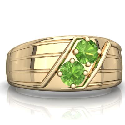 Peridot Art Deco Men's Ring in 14K Yellow Gold by