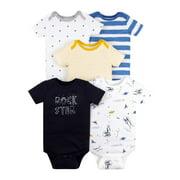 Little Star Organic Baby Boy Short Sleeve Pure Organic Bodysuits, 5 Pack