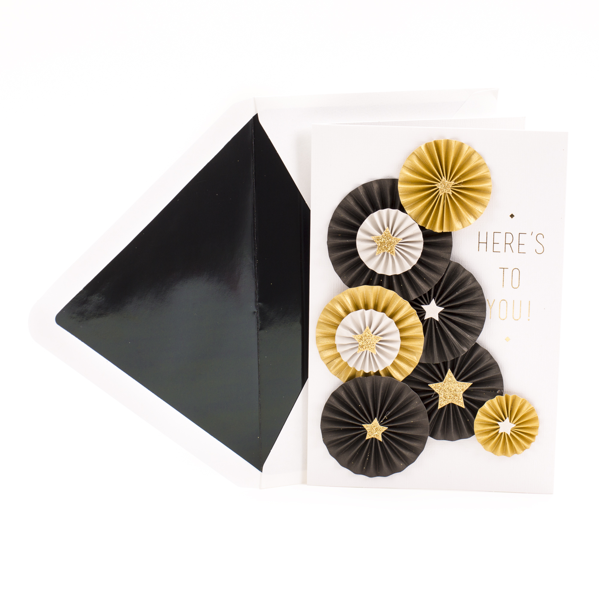 Hallmark Signature, Folded Paper Medallions With Gold Stars Celebrating You, Graduation Greeting Card