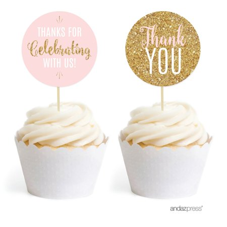 Signature Blush Pink, White, Gold Glittering Party Collection, Round Cupcake Toppers, 20-Pack