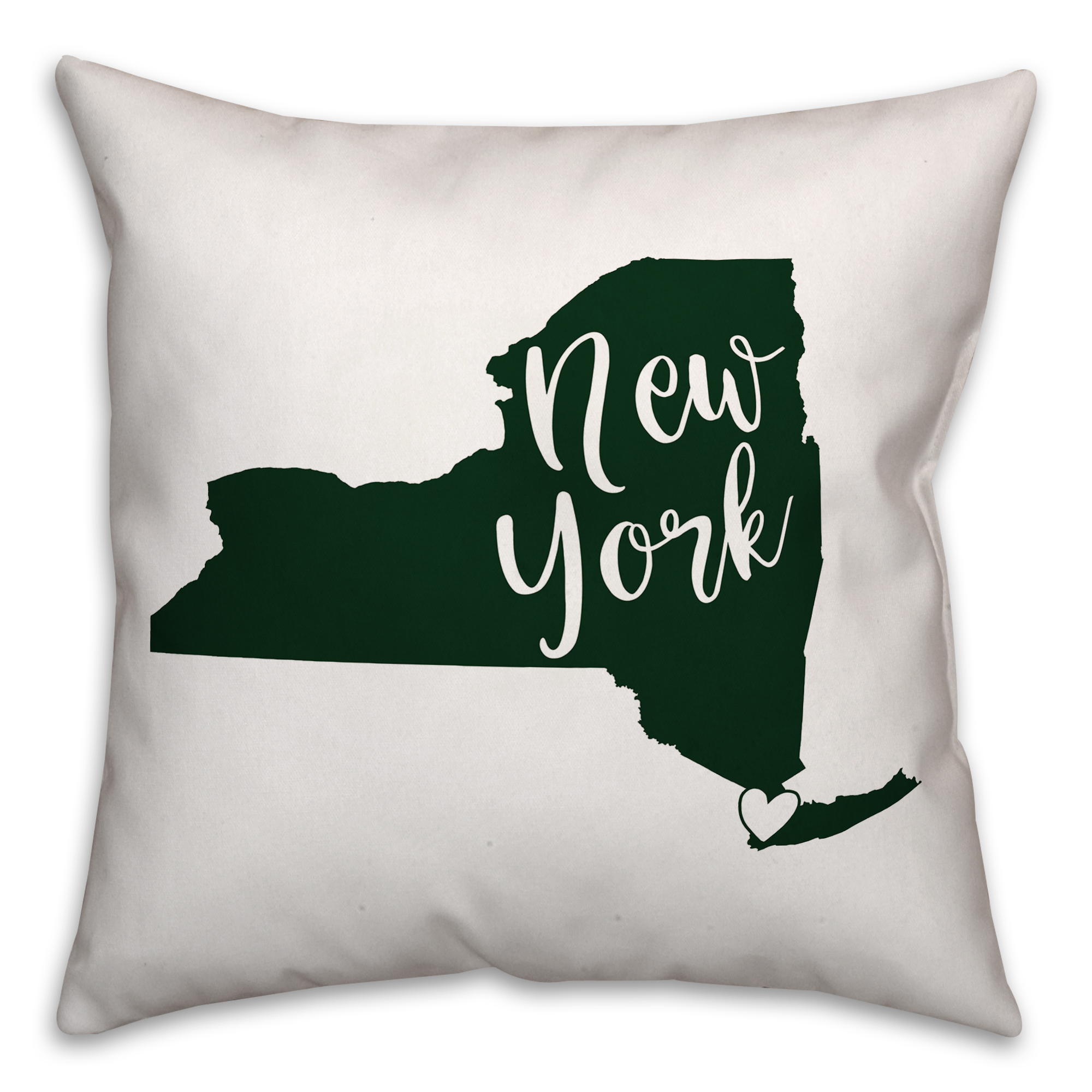 Green and White New York Pride 16x16 Spun Poly Pillow
