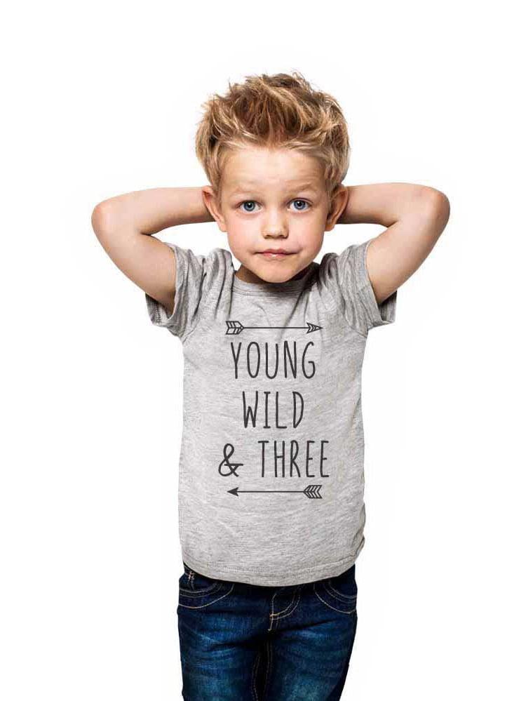 Young Wild & Three - wallsparks cute & funny Brand cool boho 3rd Birthday Shirt Age 3 Three year old - Soft Toddler Shirt