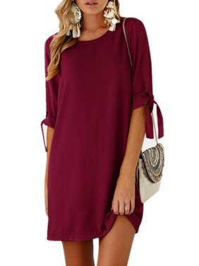 b784278254fc Product Image Womens Adjustable Long Sleeve O Neck Casual Mini Dresses