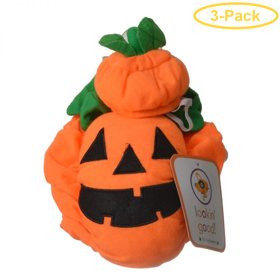Lookin' Good Pumpkin Dog Costume X-Small - (Fits 8-10 Neck to Tail) - Pack of 3