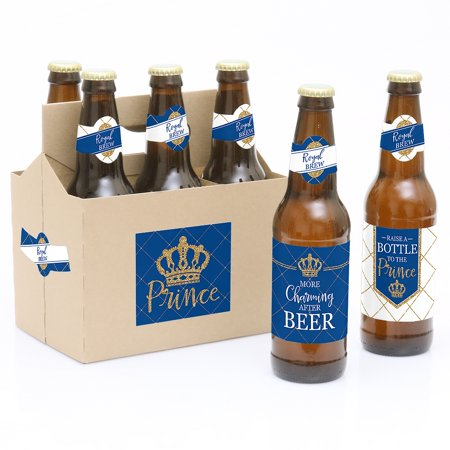 Royal Prince Charming - Baby Shower or Birthday Party Decorations for Women and Men - 6 Beer Bottle Label Stickers and - Prince Decorations For Baby Shower