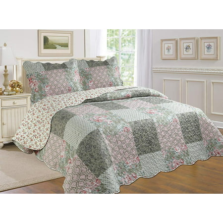 All for You 3pc Reversible Bedspread, Coverlet,Quilt Set- Pattern 116 (King Size 90