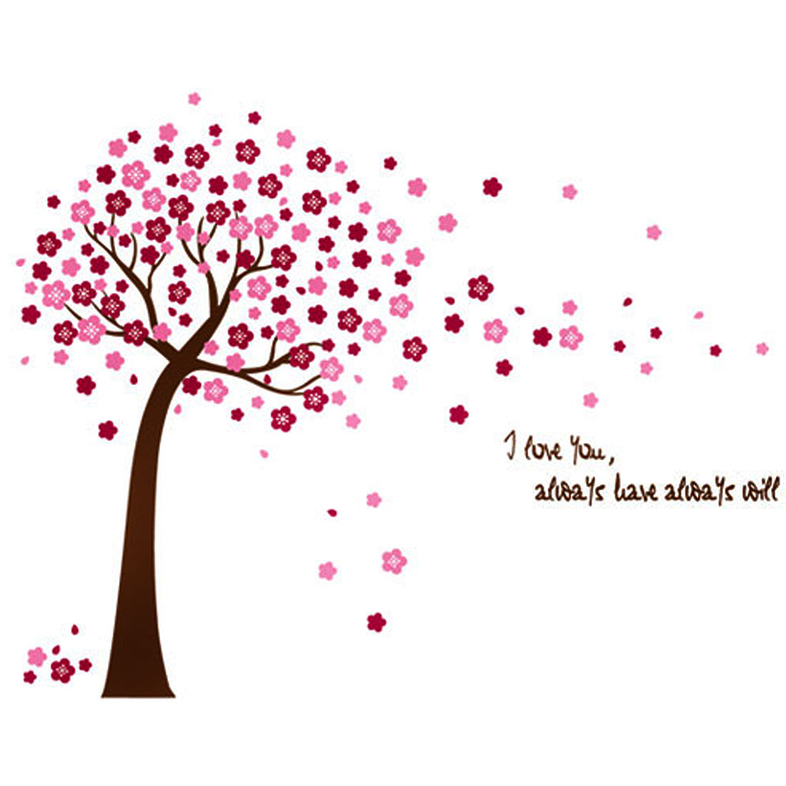 Living Room Flowers Tree Printed Removable Wall Sticker Wallpaper Mural