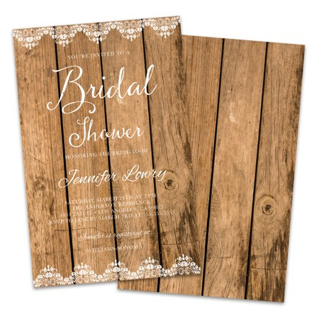 Personalized Wood Grain Bridal Shower Invitations](Bonfire Invitation)