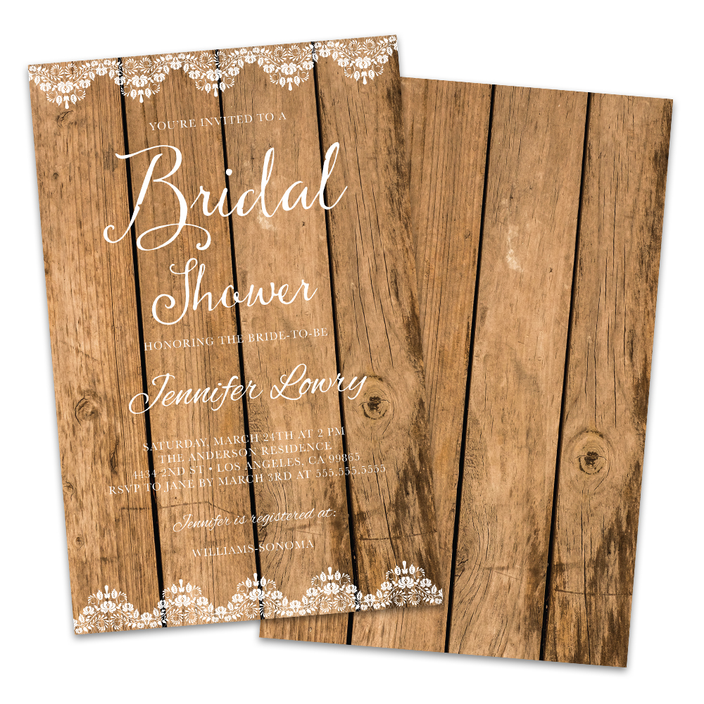 Personalized Wood Grain Bridal Shower Invitations