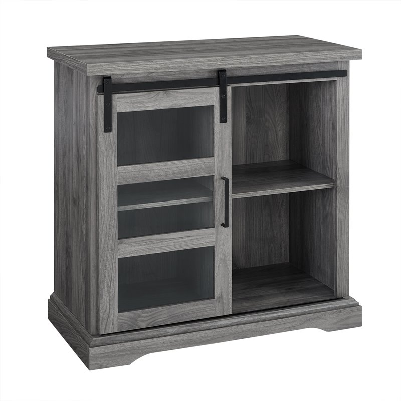 """32"""" Modern TV Stand with Glass Door Accent - Slate Grey"""