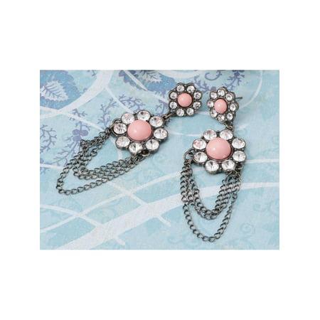 - Silver Tone Faux Pink Opal Daisy Clear Rhinestone Dangle Chain Fashion Earrings