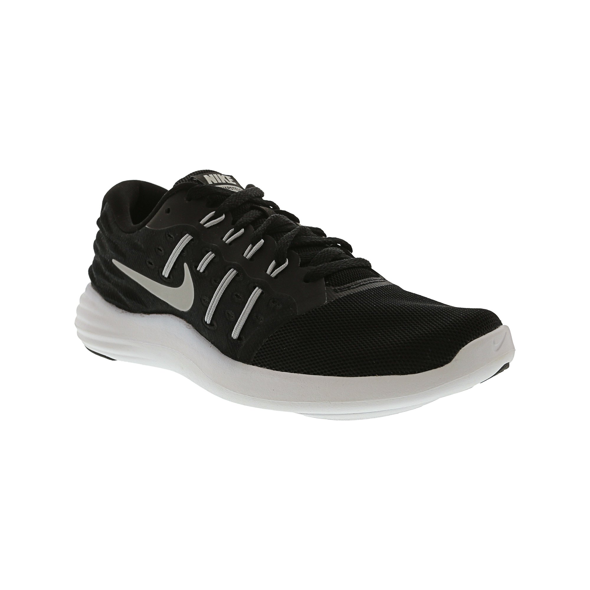 4768bdffa4612 Nike Women s Lunarstelos Black   Metallic Silver Ankle-High Walking Shoe -  9.5M